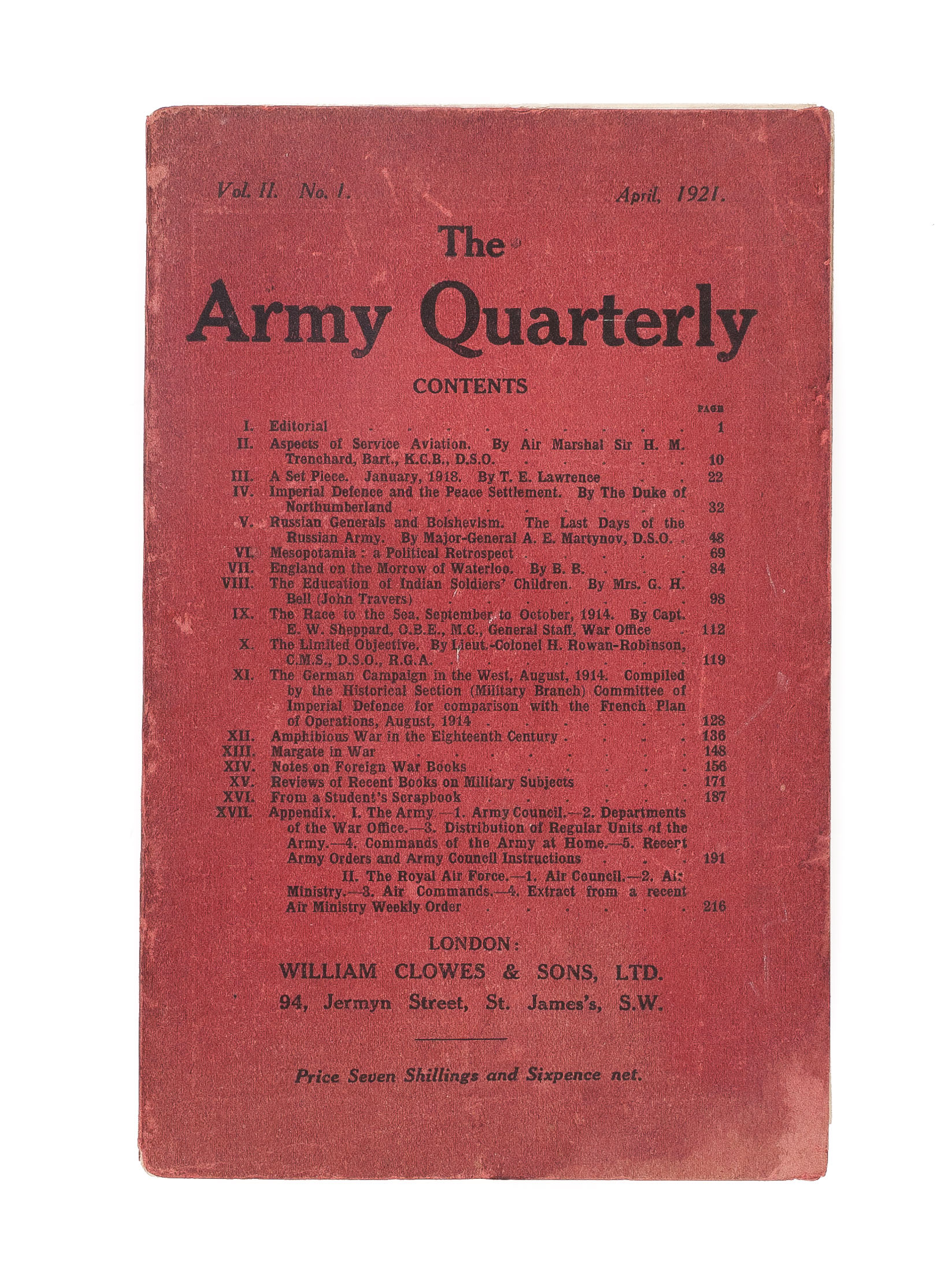 The Army Quarterly Vol Ii No 1 Lawrence Te First Edition