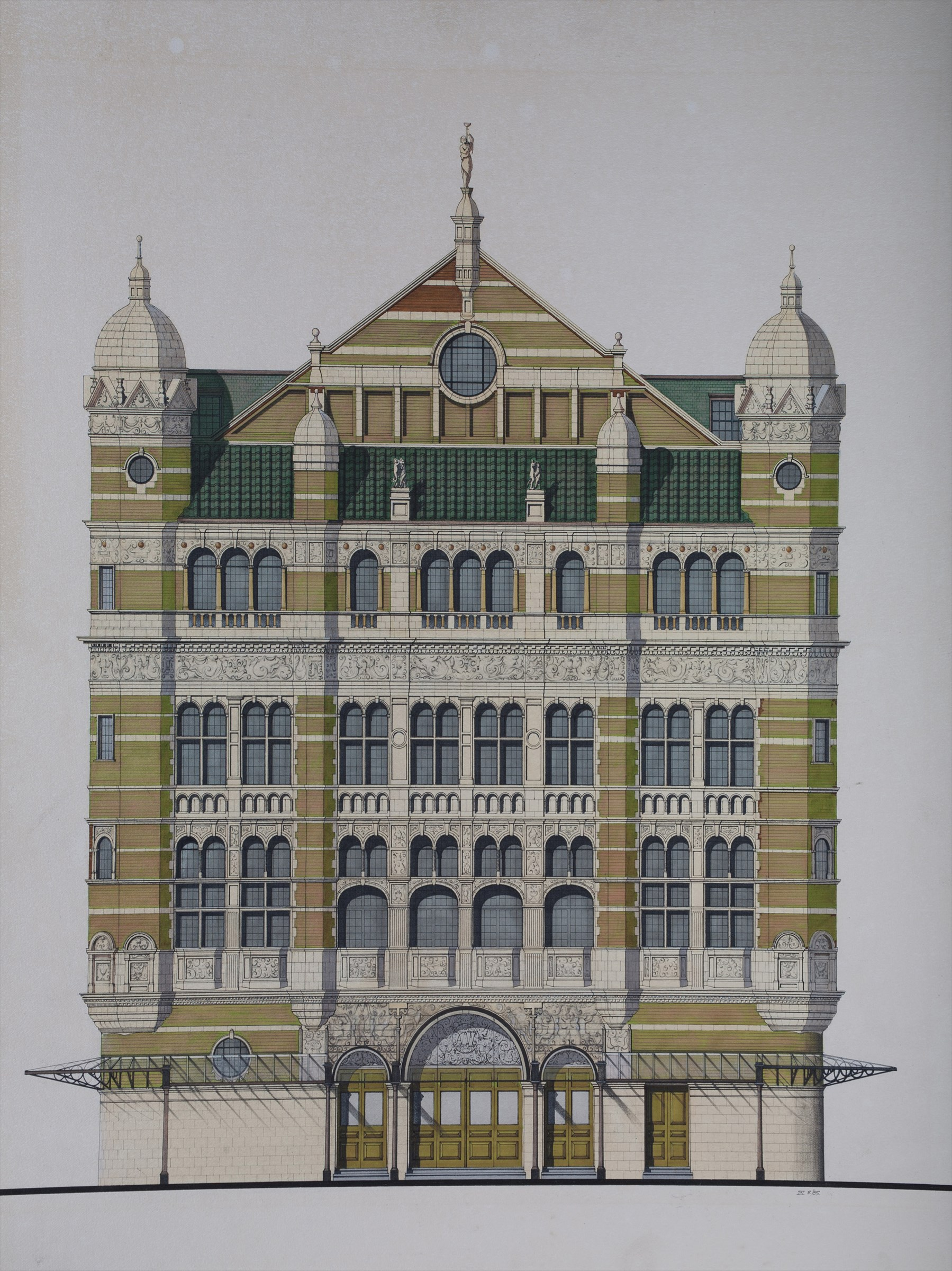 Front Elevation Definition Theatre : Original drawing architectural rendering of the front