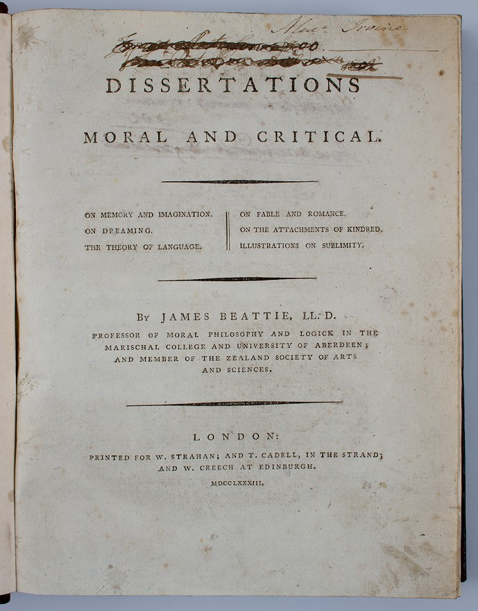 Beattie by critical dissertation james moral works