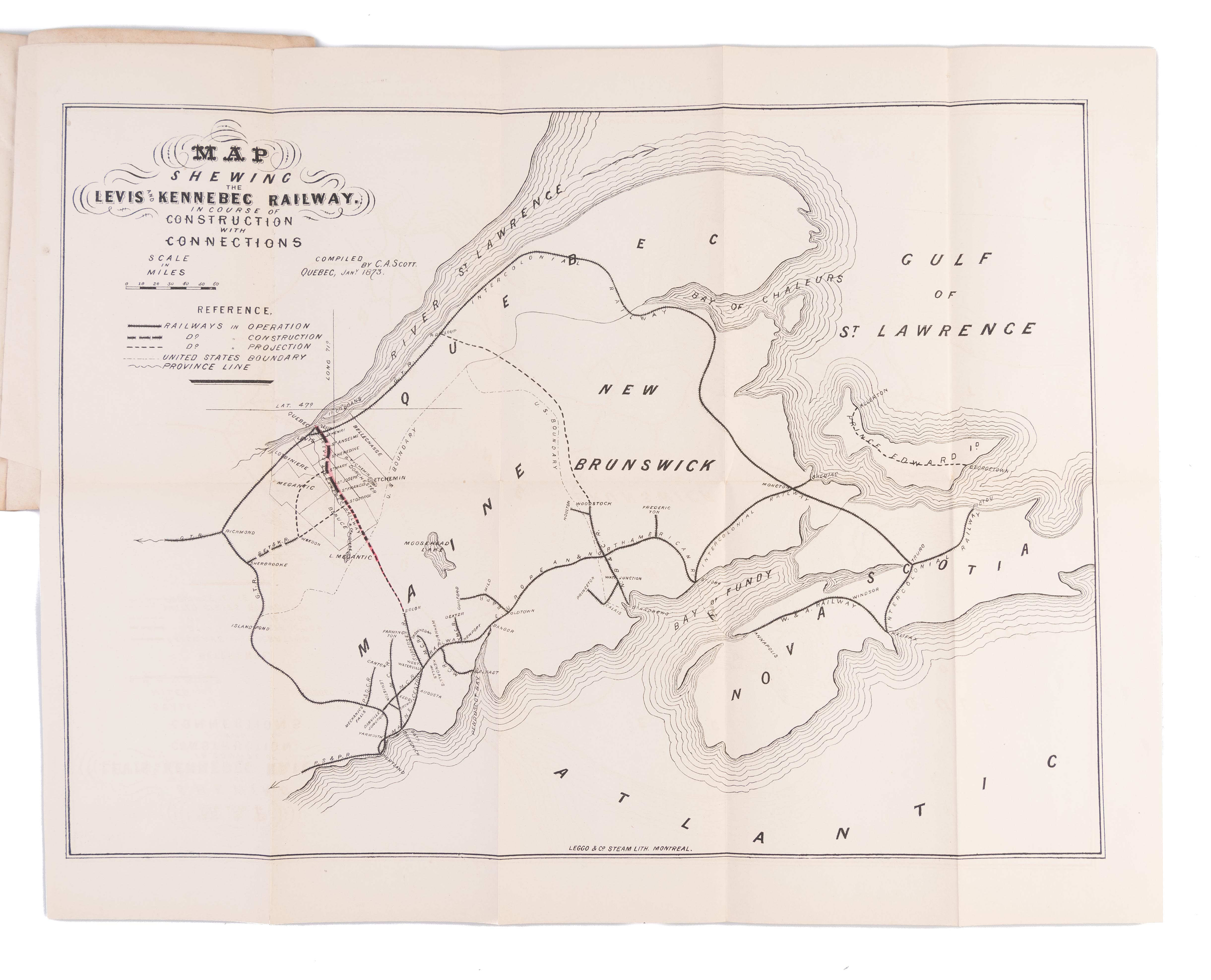 Map Of Canada In 1873.Prospectus The Levis And Kennebec Railway